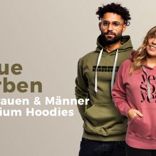 Männer und Frauen Premium Hoodies in neuen Farben