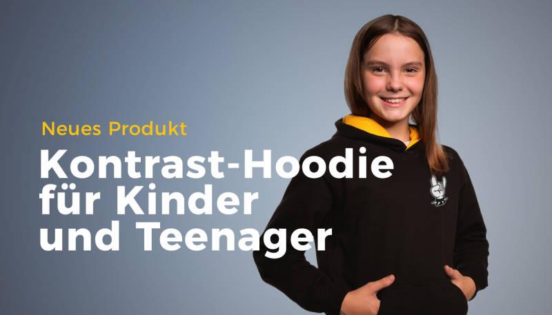 Neuer Kontrast-Hoodie für Kinder und Teenager