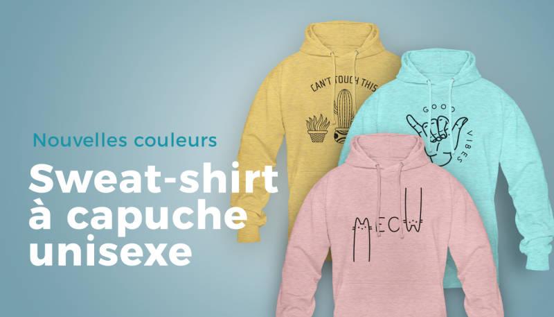Nouvelles couleurs – Sweat-shirt à capuche unisexe
