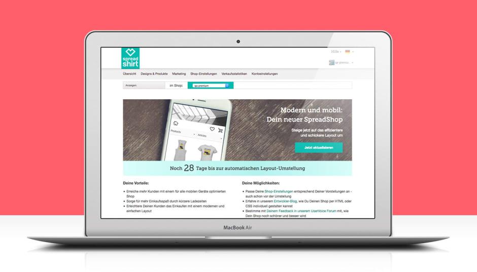 Umzug aller Designer-Shops zum SpreadShop