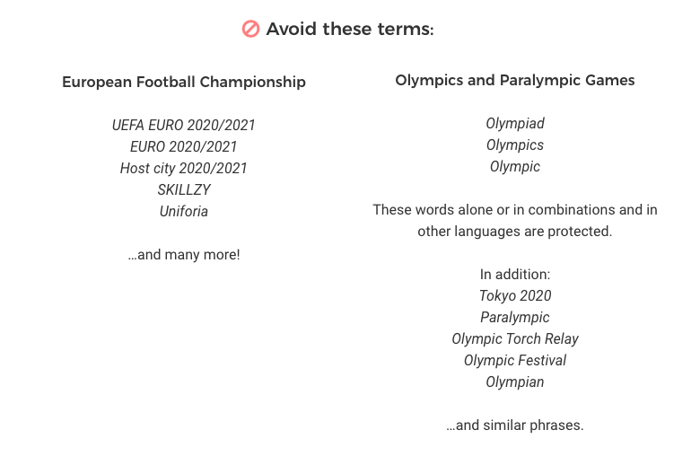 Legal Aspects of the Olympic & Paralympic Games and European Football Championship 2021